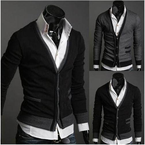 2018 Men'S Sweater Knitwear Cardigan Black /Grey Slim Casual M L ...