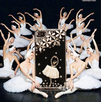 Wholesale Iphone 4s Cover 3d Crystal - New Luxury 3D Ballet Girl Bling Crystal Diamond Case Handwork Cover Skin For iPhone 4 4S