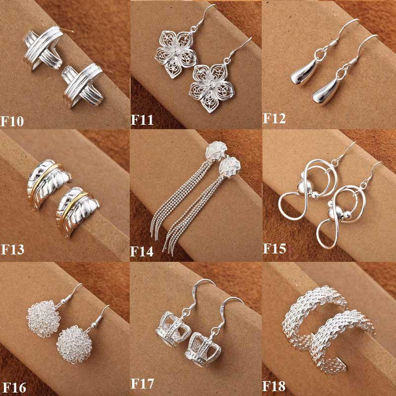 Hotting Sale 925 Silver 50pairs Fashion Ladies Gota para el oído joyería Multi Styles Mixed Earrings