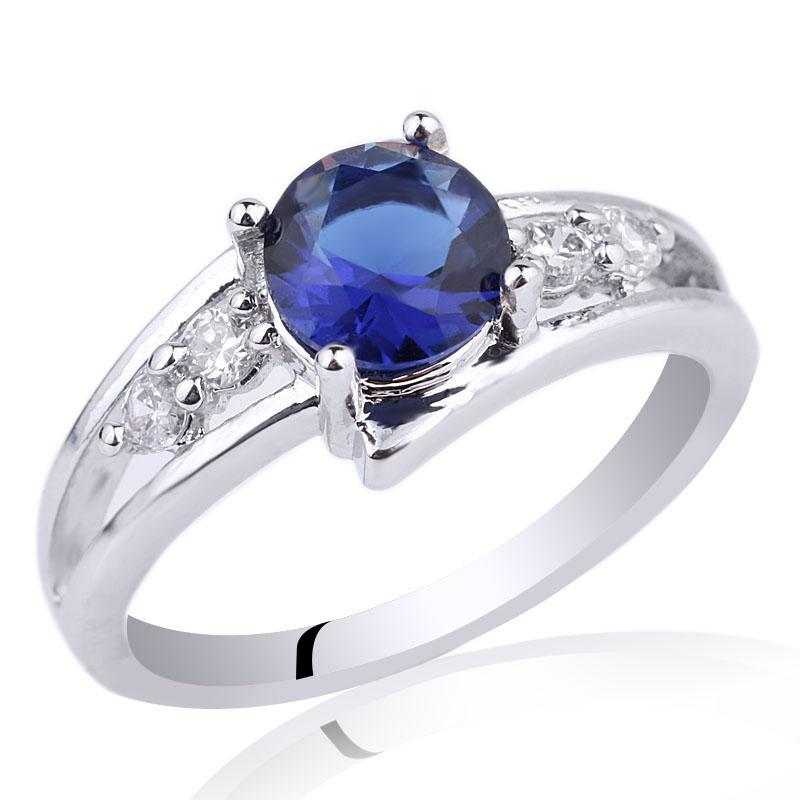 band ring promise item solid natural sapphire gold diamond blue engagement gemstone wedding rings white vs