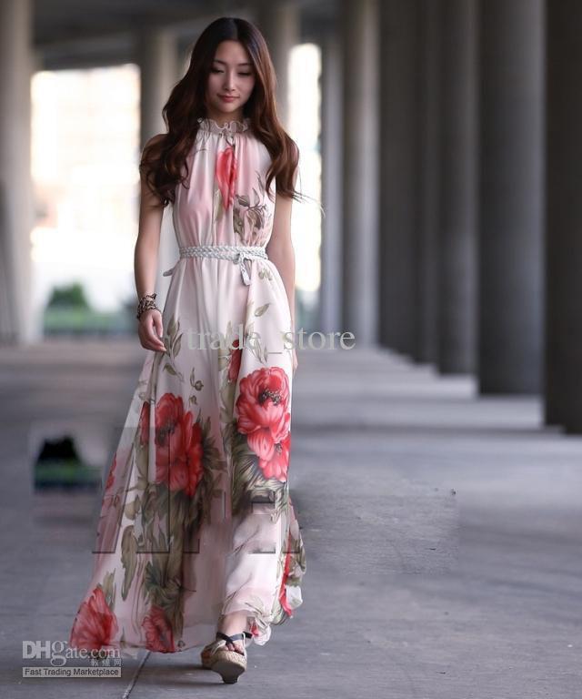 2016 Fashion Women Dress estate senza maniche Maxi Abito lungo in chiffon abito stampato Bohemian abito da sera spiaggia vestito gonna abito arruffato