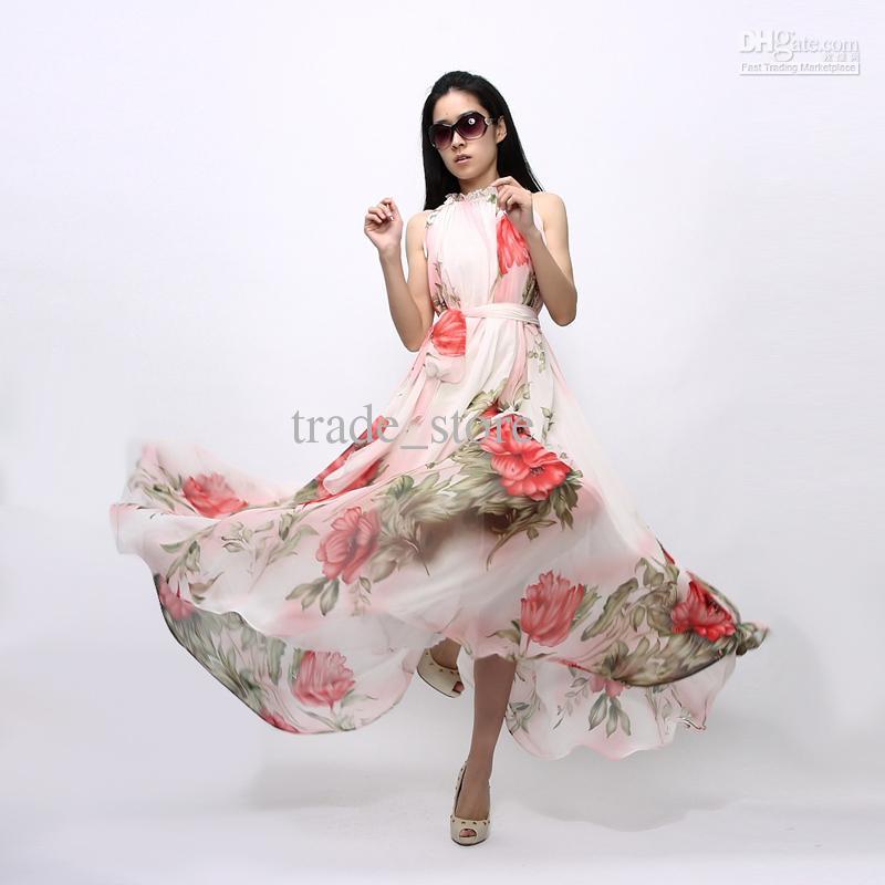 2019 Fashion Women Dress Summer Bohemian Long Maxi dress Party Skirt Flowers Printed Chiffon Sleeveless cheap Casual Dress