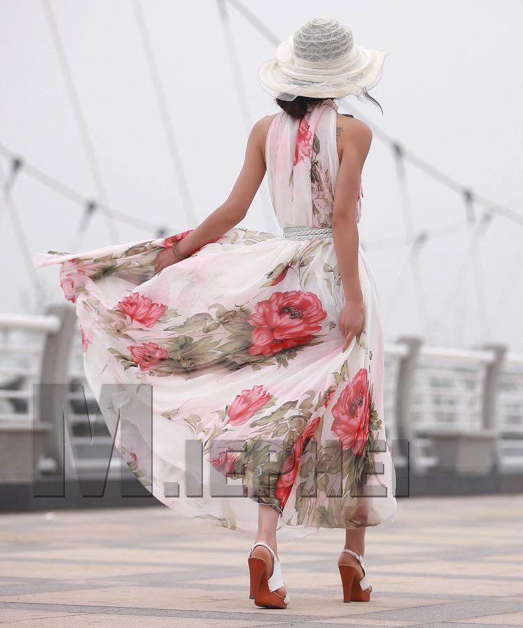 2017 mujeres de la moda Bohemia vestido de playa caliente maxi fiesta larga falda vestido de gasa sin mangas de las señoras ocasionales baratos vestido
