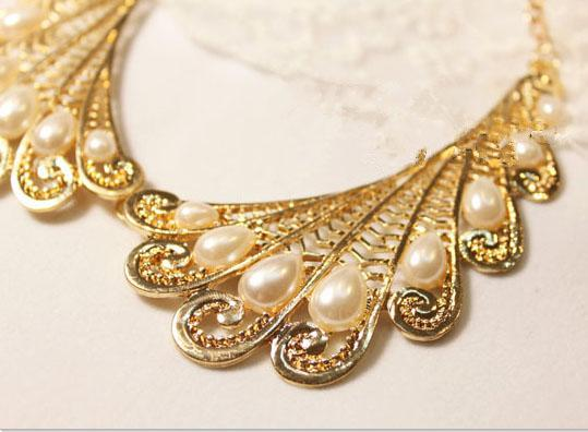 NEW colorful Unique Chunky Statement bubble bib Choker Necklace with Pearl 10pcs/lot