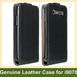 Wholesale S Advanced - Wholesale New Genuine Leather Flip Case for Samsung Galaxy S Advance i9070 Free Shipping