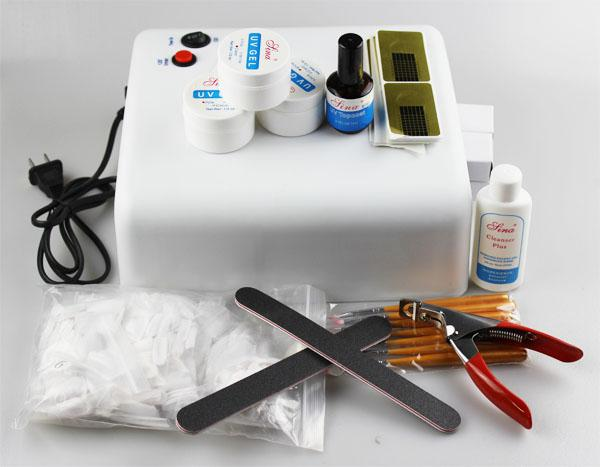 Beginners Full Set Acrylic French Tips Uv Nail Gel Kit 36w Curing