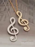 collier pendentif note de musique en or achat en gros de-Brand New Fashion GOLD / ARGENT Music Note Pendentif Collier avec Full Crystal MIN 10 PCS Livraison Gratuite