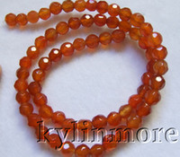 Wholesale 6mm Faceted Gemstones - 8SE09281a 6mm Carnelian Faceted Round Beads 15''