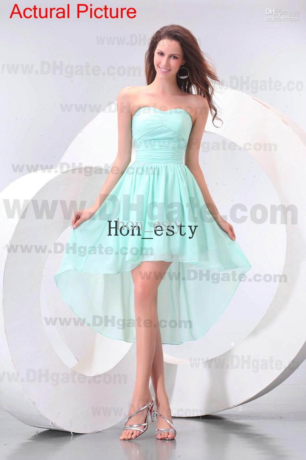 Light Blue Fresh Party Dresses High Low Chiffon Strapless Zipper ...
