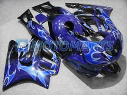 Custom Body Honda Cbr Canada - flames blue in black ABS custom fairing for Honda CBR600F3 97 98 CBR 600 F3 1997 1998 body kit RX3A