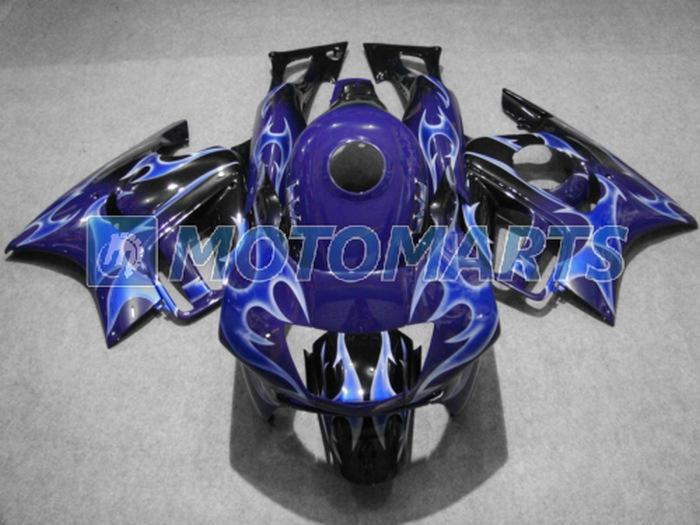 Chamas azul em preto ABS carenagem personalizada para Honda CBR600F3 97 98 CBR 600 F3 1997 1998 corpo kit RX3A
