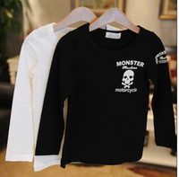Wholesale Child Activewear - Fashion Casual Tops Long Sleeve T Shirt Children Activewear Boys Skull Printed Shirts Kids Clothing