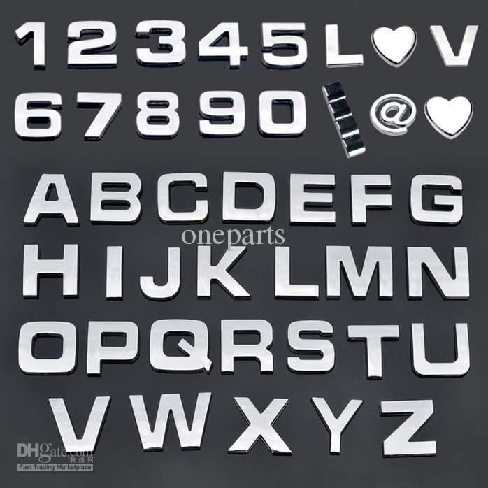 Letter 3d sticker auto chrome badge letter decal number emblem diy decoration alphabet logo