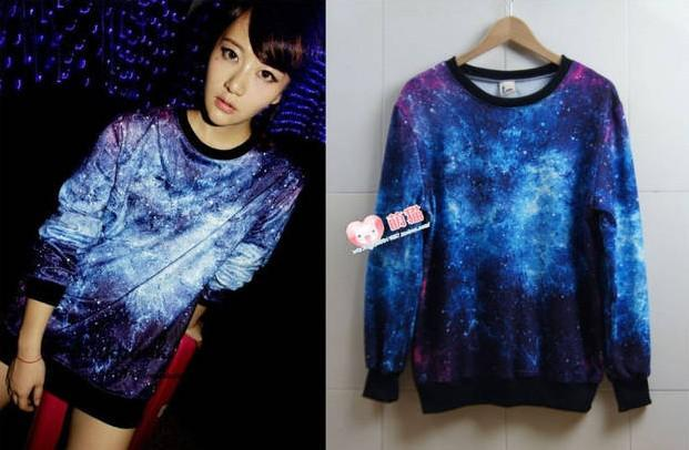2017 New Women Sweatshirts Digital Printed Galaxy Hoodies ...