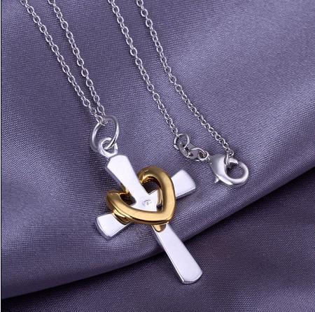 Alta calidad 925 Plata Cross Colgante Collar Collar de moda Regalo de Navidad Regalo de Navidad Pedido mixto envío gratis /