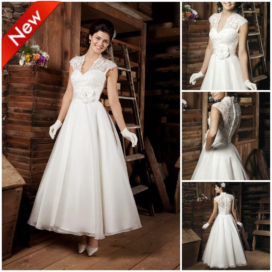 2bffbd82dd57 Discount Retro Ankle Length Ivory Appliques A Line 2014 New Wedding Dresses  Bridal Dress Wedding Gowns BG054 Discount Wedding Gowns Lace Bridal Dresses  From ...