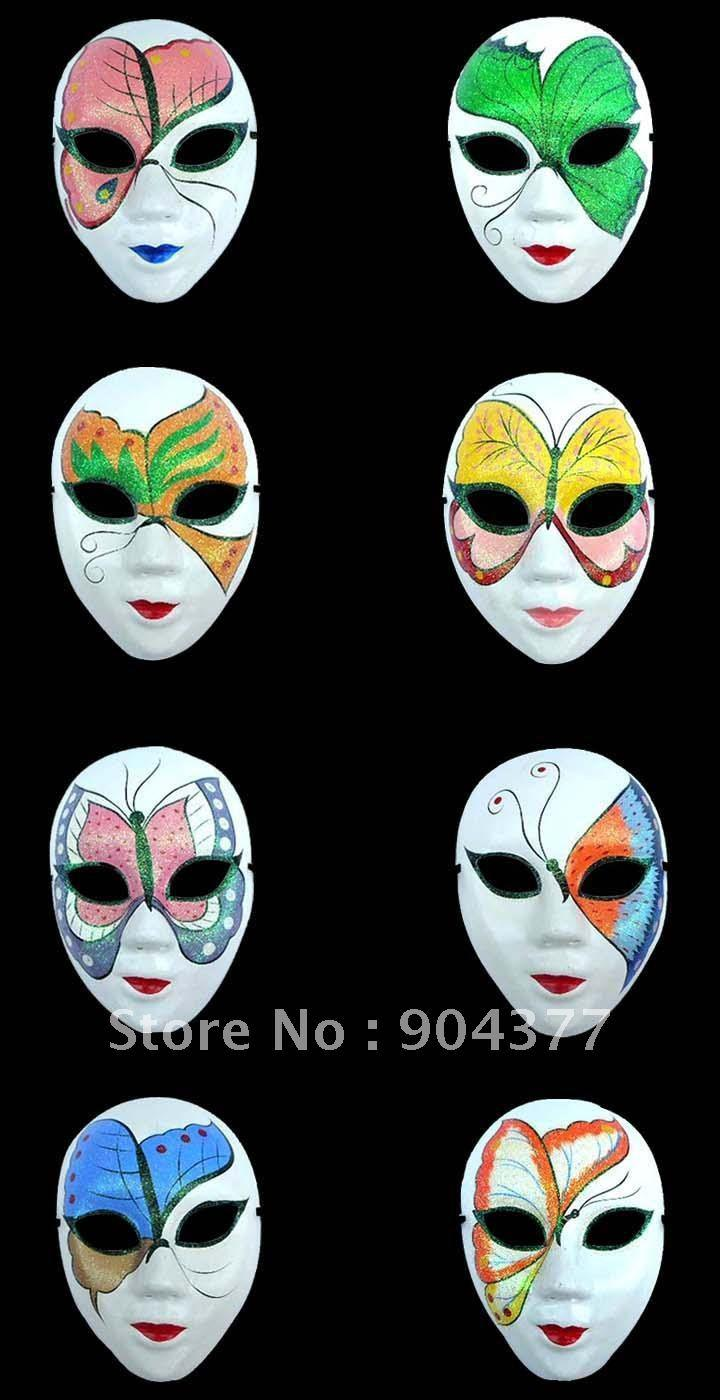White Masquerade Masks For Halloween Women Paper Mache Decorated ...