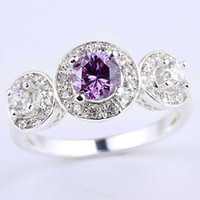 anéis de pedra de ametista venda por atacado-Mulheres 3-pedra Design Ametista Roxo 925 Anel de Prata Esterlina NAL R074