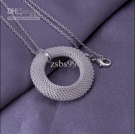 Il trasporto libero / dei monili della donna di modo della collana del pendente del cerchio della maglia dell'argento 925 di alta qualità