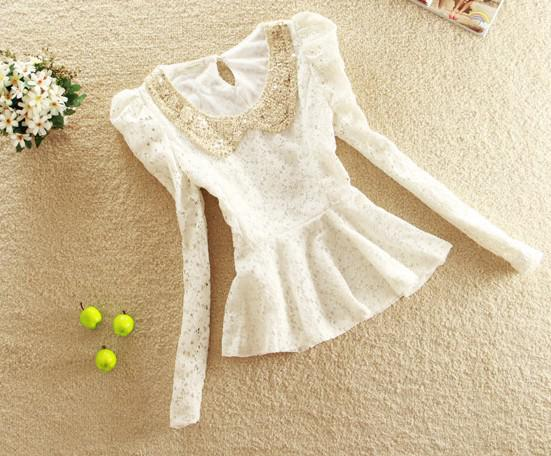 Women's Spring New Small Shirt Doll Collar Lace Shirt Bottoming Long Sleeve and Short Sleeve