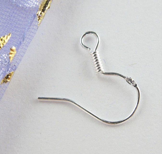 / الشحن الاسترليني الساخن 925 النتائج حلق فضة Fishwire خطاف الأسماك مجوهرات DIY خفض 15mm هوك صالح أقراط