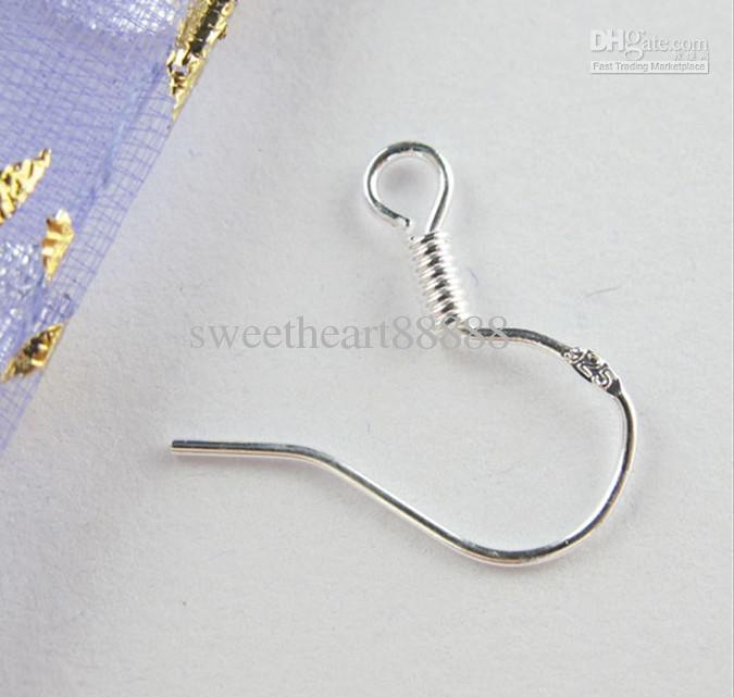Pendientes Fit / Sterling 925 calientes resultados del pendiente de plata alambre guía anzuelos joyería DIY 15 mm Gancho