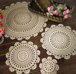 Wholesale Doily Mats - 15%off!100% cotton hand made Crochet cup mat,Ecru Doily ,COLORFUL !20pcs