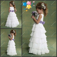 Wholesale Chiffon Flowers Junior Bridesmaid Dress - In Stock Flower Girls Dresses Cheap Jewel Neckilne A-line Tiered Floor Length White and Purple Chiffon Wedding Junior Girls Bridesmaid Dress