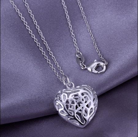 Atacado 925 Sterling Silver Banhado Oco Coração Pingente de Colar de moda romântico presente do Valentim jóias para meninas e mulheres frete grátis