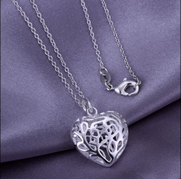$enCountryForm.capitalKeyWord Canada - Wholesale 925 Sterling Silver Plated Hollow Heart Pendant Necklace Fashion romantic valentine gift jewels for girls and women free shipping