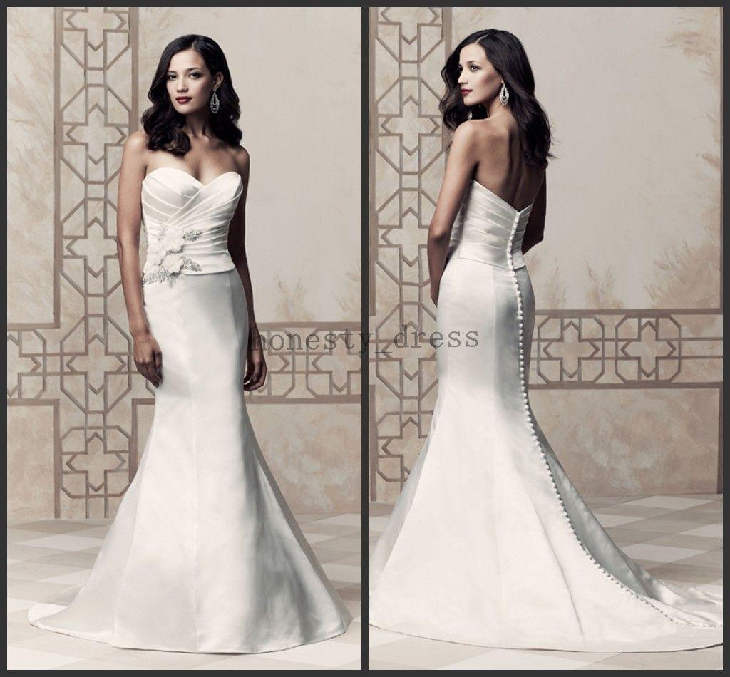 Paloma Blanca Wedding Dresses 4360 Ivory Beaded Sweetheart Court Train Handmade Flower Sequin Satin Dress Online Shop Sale From