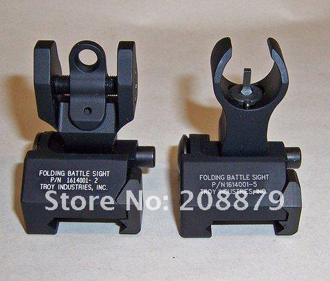 Troy Industries Arrière Bataille Back Up Iron Sight Pliage Noir Pack de 2 Pièces noir tan