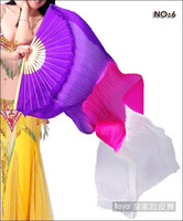 Wholesale Silk Veils For Belly Dancing - 100% Real Silk Fan Veil For Belly Dance 180cm Veil Fan Purple-Hot pink-White NO:6
