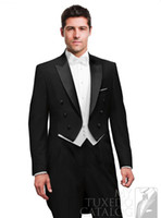 Custom Design Noir Smokieuse Tuxedos Peak Revers Tailcoat Meilleurs Costumes Hommes (Veste + Pantalon + Cravate + Gilet) G636
