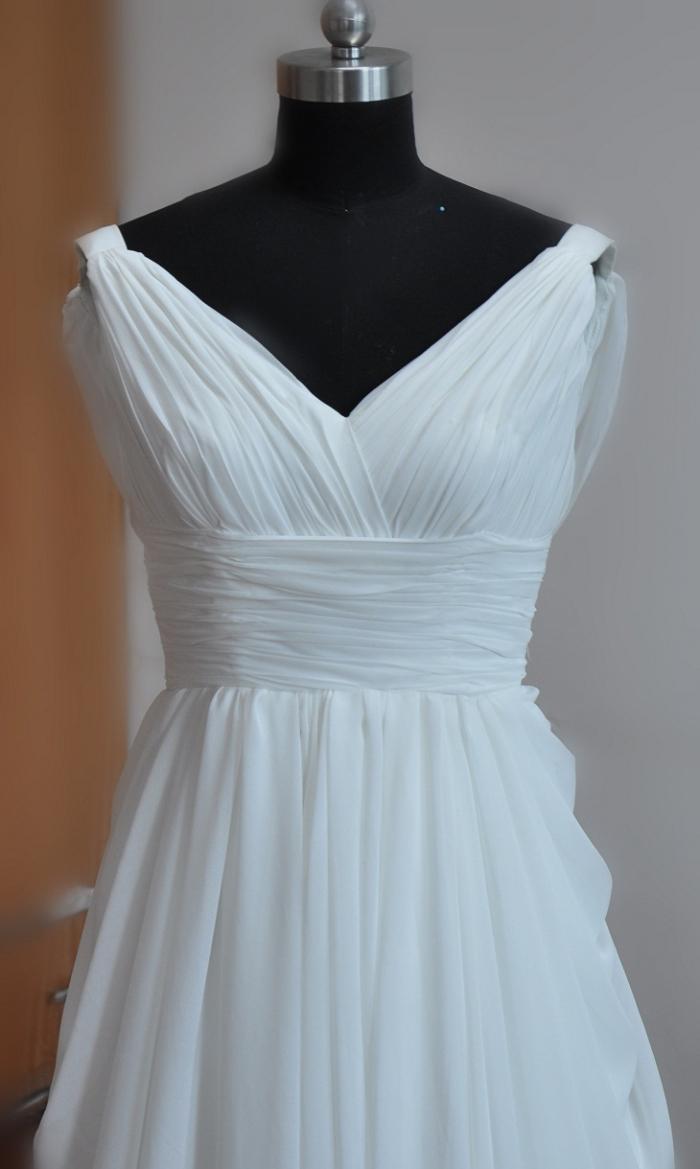 Simple Style! Beautiful White Wedding Dresses Chiffon Bridal Dresses ...