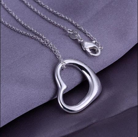 Collana a forma di cuore in argento 925 con ciondolo a forma di cuore, regalo di San Valentino, prezzo basso, spedizione gratuita