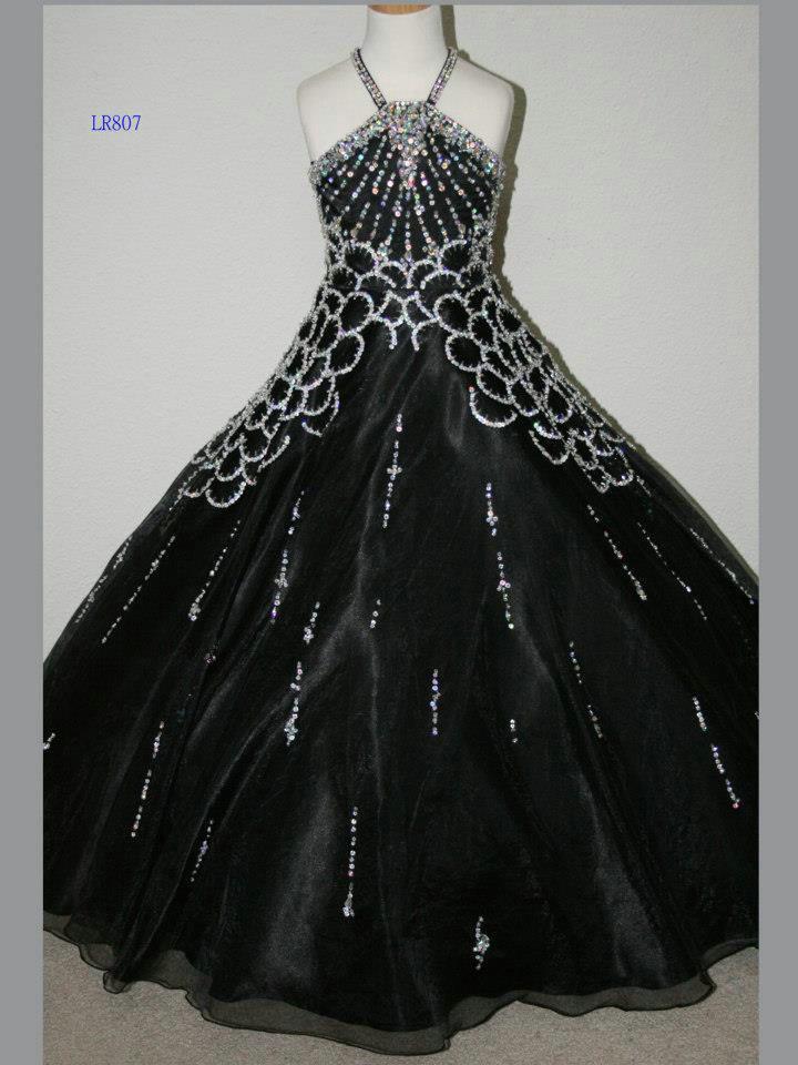 Robe de bal Pageant 2013 GD30 fille noire perlée sur organza petites robes de filles