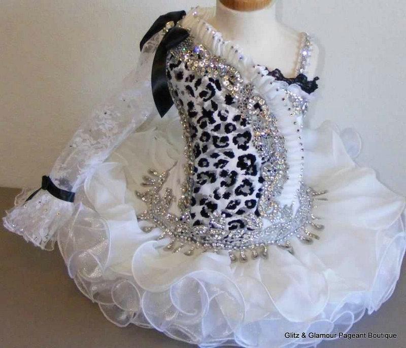 2013 GD31 Vestido de desfile de niña hermosa Vestido de pastel Vestido de niña pequeña Blanco y negro