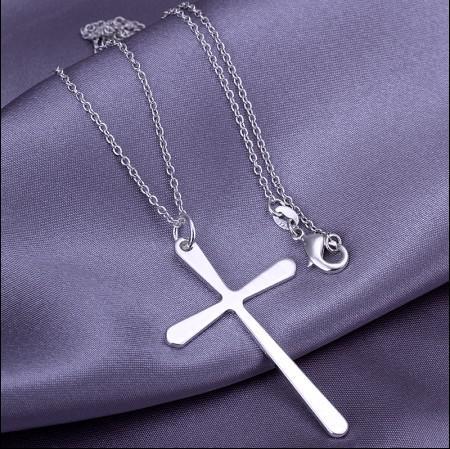 Best-seller jóias de alta qualidade 925 prata pingente de cruz colar de frete grátis 10 pçs / lote