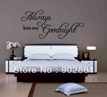 Funlife 90x40cm Always Kiss Me Goodnight Vinyl Art Mural Wall Quote Saying  Decals Removable Wall Stickers Removable Wall Stickers Cheap From  Beijia2013, ...