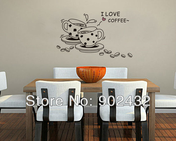 Envío gratis pegatinas de pared de vinilo extraíble amor café decoración del hogar tatuajes de pared JM8268
