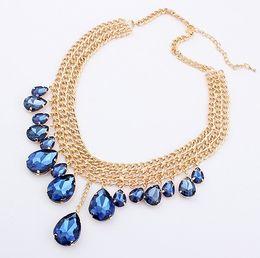 Wholesale New Swarovski Necklace - NEW 20% Discount! Fashion GOLD Chunky Choker Chain Necklace With Colorful Austrian Rhinestone Swarovski Elements Necklaces