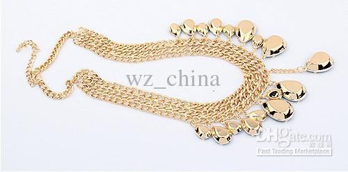 Collana della catena del choker del choker della grossa dell'oro di modo con le collane del cristallo di cristallo di strass austriaco variopinto Nuovo sconto del 20%!