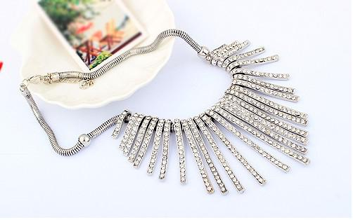 ¡NUEVO 20% de descuento! Borla de calidad fina Cristal austriaco ORO Bar Chunky Link Cadena Árbol Gargantilla Collar Collar para las mujeres