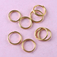 Wholesale Copper 8mm Jump - 400pcs gold tone 8mm Jewelry spring Rings H0846