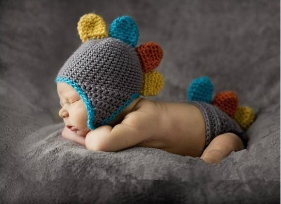 الوليد الطفل الرضيع اليدوية الحيوان الكروشيه قبعة زي صور التصوير دعامة الديناصور البدلة