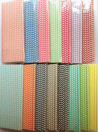 disposable straws free shipping Canada - Free Shipping Wedding Supplies 19.7CM chevron printed Drinking Paper Straw Package 15 Colors 1500PCS