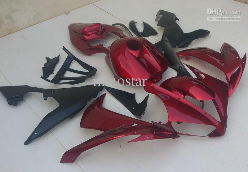 Vermelho preto fosco forYAMAHA 2004 2005 2006 YZF-R1 04 05 06 YZFR1 YZF R1 kit de carenagens tampa do tanque cheio