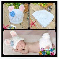 conejito recién nacido fotografía prop al por mayor-Lindo Bebé Recién Nacido Infantil Floppy Conejo Conejo Disfraz Fotografía Prop 0-6M
