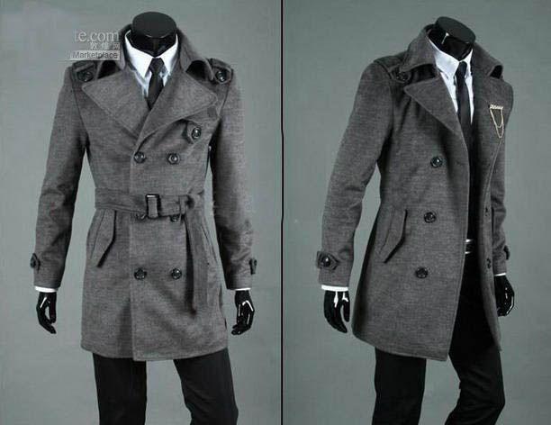 2017 Men's Dust Trench Coat Cashmere Greatcoat ,Overcoat , Black ...